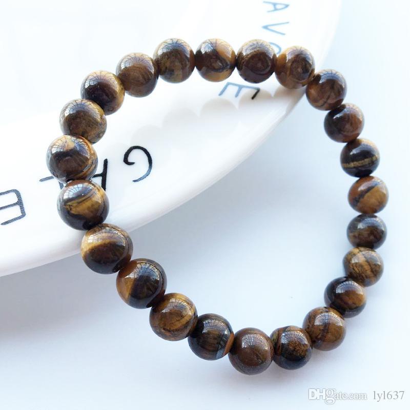 8MM naturel Tiger Eye Pierre Bracelet Brown brins de pierre 2018 New Unisexe fait main élastique corde Bracelets perlés bijoux en gros Customized