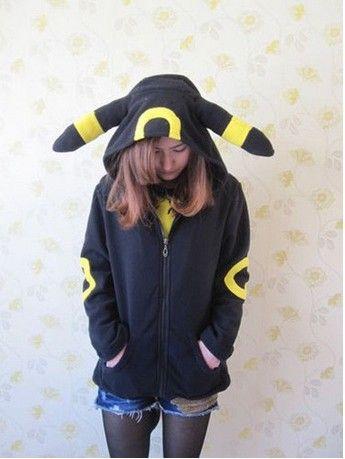 Cosplay Animal Anime Monster Umbreon Black Hooded Hoodie Sweatshirts With  Ears Tail Adult Women Men Polar Fleece Jacket Sweatshirt with Ears  Sweatshirts ... 296d0d79f6