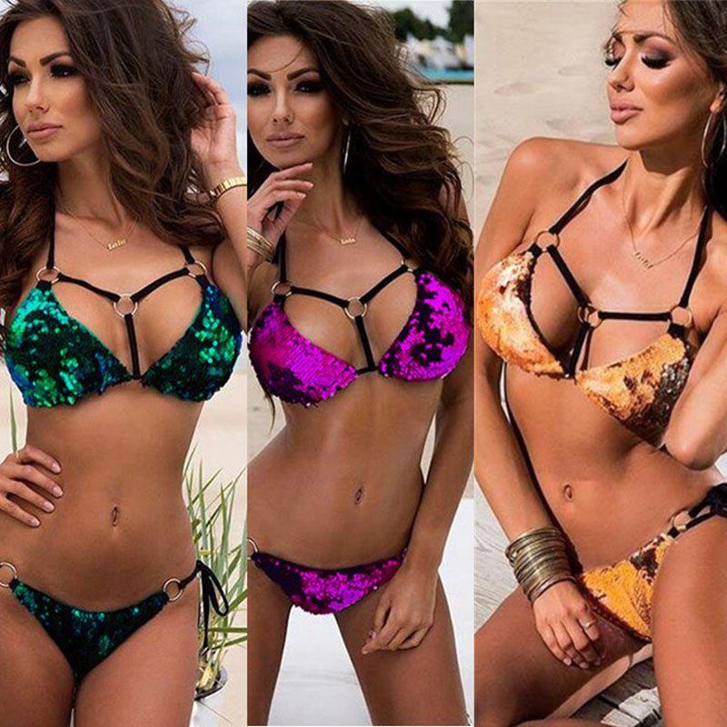 Sexy Lantejoulas Biquíni Bandage Verão Biquíni Para As Mulheres Mais Novo Sexy Backless Swimwear Biquíni Praia de Ouro 3 Cores