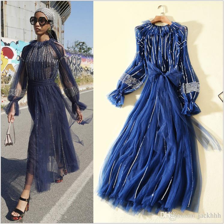 17c959ac50 2019 fashion women one piece dress brand designer dress sexy runway  cocktail party dresses Sequins lace long sleeve dress blue XL 815