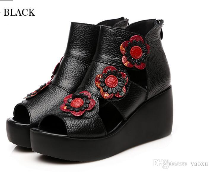 2018 Ethnic Style Echtes Leder High Heel Plattform Frauen Sandalen Lady Wedges Sandalen Schöne Sommer Schuhe