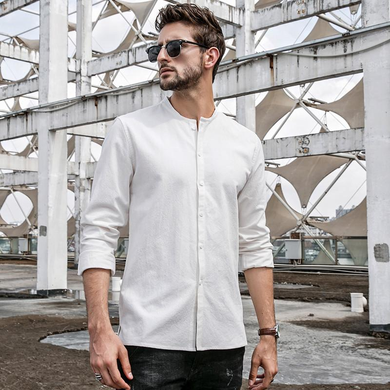 Acquista Camicia Da Uomo Autunno Brand Style Tinta Unita Camicia Casual Uomo  Moda Manica Lunga Senza Colletto Camicie Uomo Taglia S 3XL A  31.22 Dal  Jingju ... 8dc98f34eb6