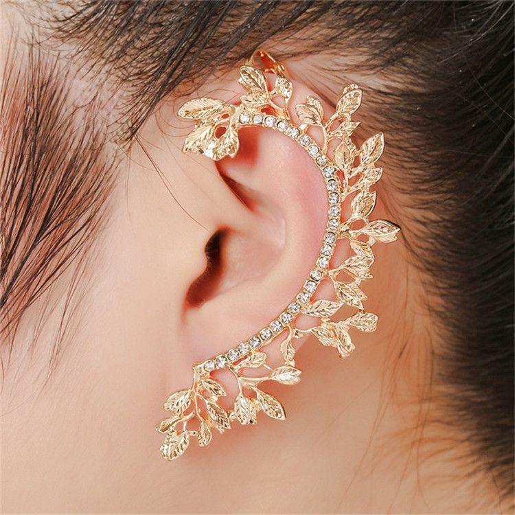 2017 Women Fashion Statement Punk Jewelry Gold color Full Rhinestone Crystal Vintage Leaf Ear Cuff Clip Earrings Brincos