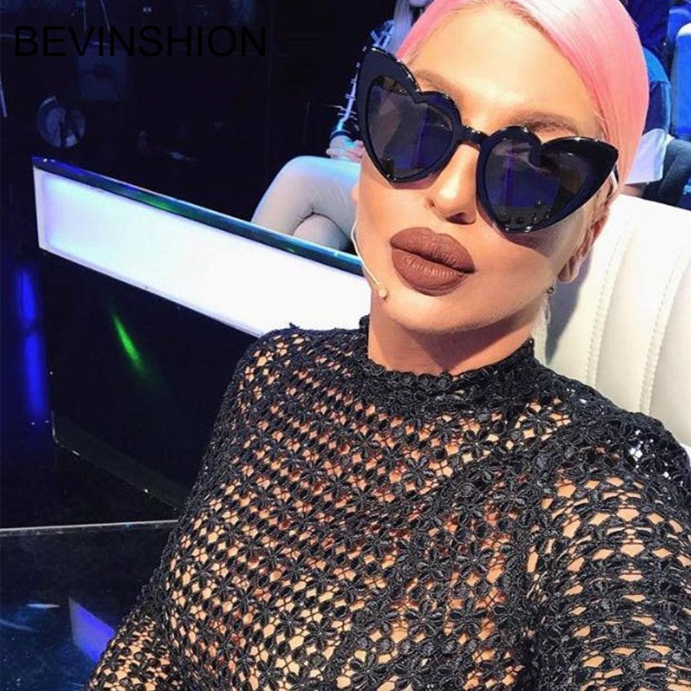 2d876c05d76bf Compre 2018 Moda Amor Em Forma De Coração Óculos De Sol Mulheres Sexy  Bonito Do Vintage Olho De Gato Barato Óculos De Sol Feminino Rosa Azul  Amarelo Lente ...