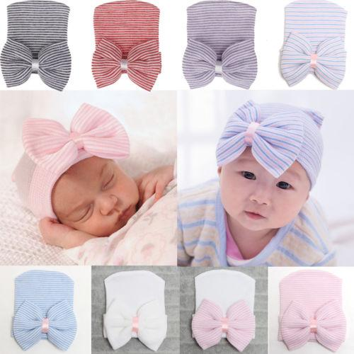 08975fe4b43 Soft Yarn Cap Newborn Hat Bowknot Baby Infant Girl Toddler Comfy ...