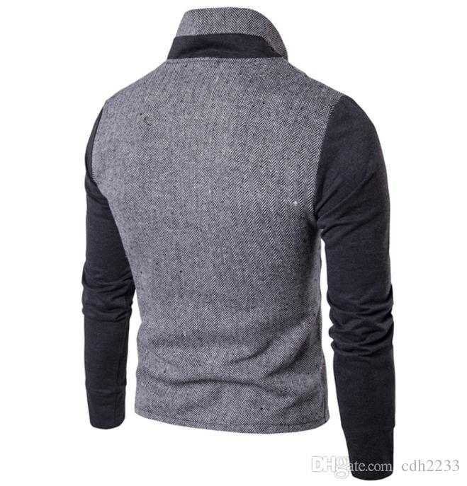 2018 yeni Avrupa ve Amerikan erkek dikiş hırka yaka ceket ticaret erkek kazak rahat ceket
