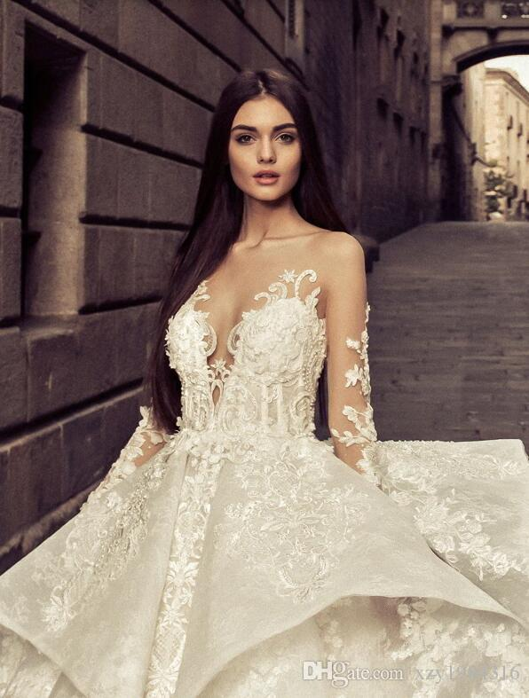 Fantastic Lace Ball Gown Wedding Dress See Through Long Sleeve Applique Sheer Backless Bridal Dress Glamorous Sexy Long Train Wedding Dress