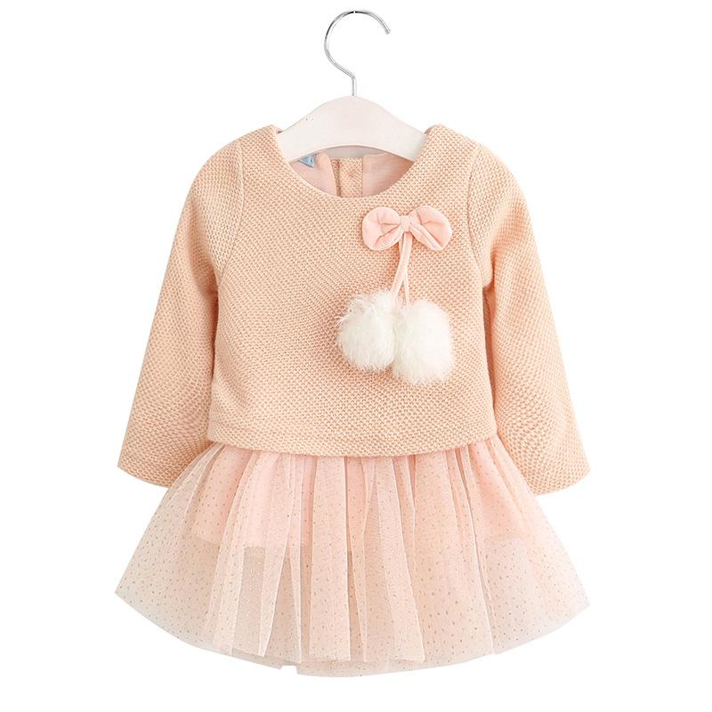 7b3bbd58a 2019 Cute Baby Girl Lace Dress Bowknot Knitting Yarn Hair Ball Net Cotton  Dress For 1 3years Girls Infant Newborn Kids Solid Dress Clothes From  Max4072, ...