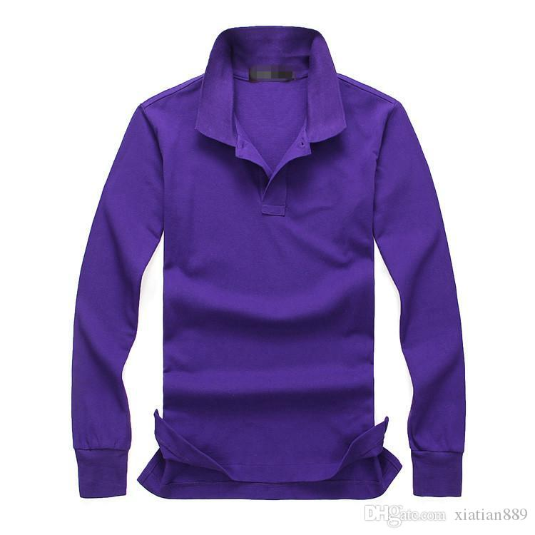 2018 New hot sale Polo Shirt Men Big small Horse crocodile Solid Long-Sleeve Summer Casual Polo Mens Slim Polos Casual Shirt M-4XL