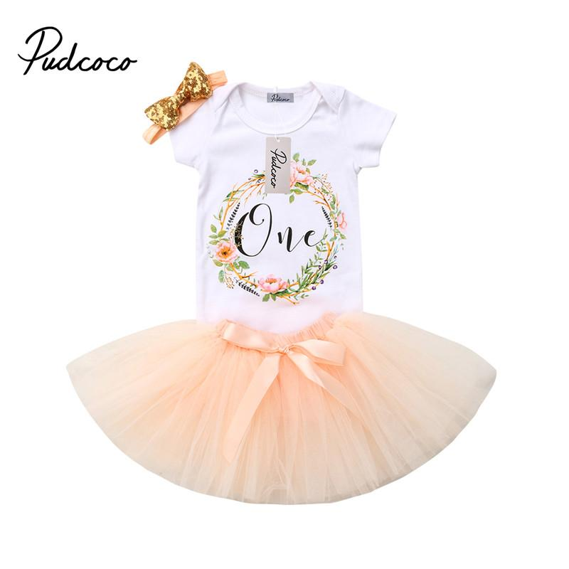e98a1a4e52e5c 2019 Infant Baby Girl Flower T Shirt Tops Romper Bodysuit Tulle Tutu Dress  Skirt Headband Outfit Baby Girls Birthday Clothes From Newestable, ...