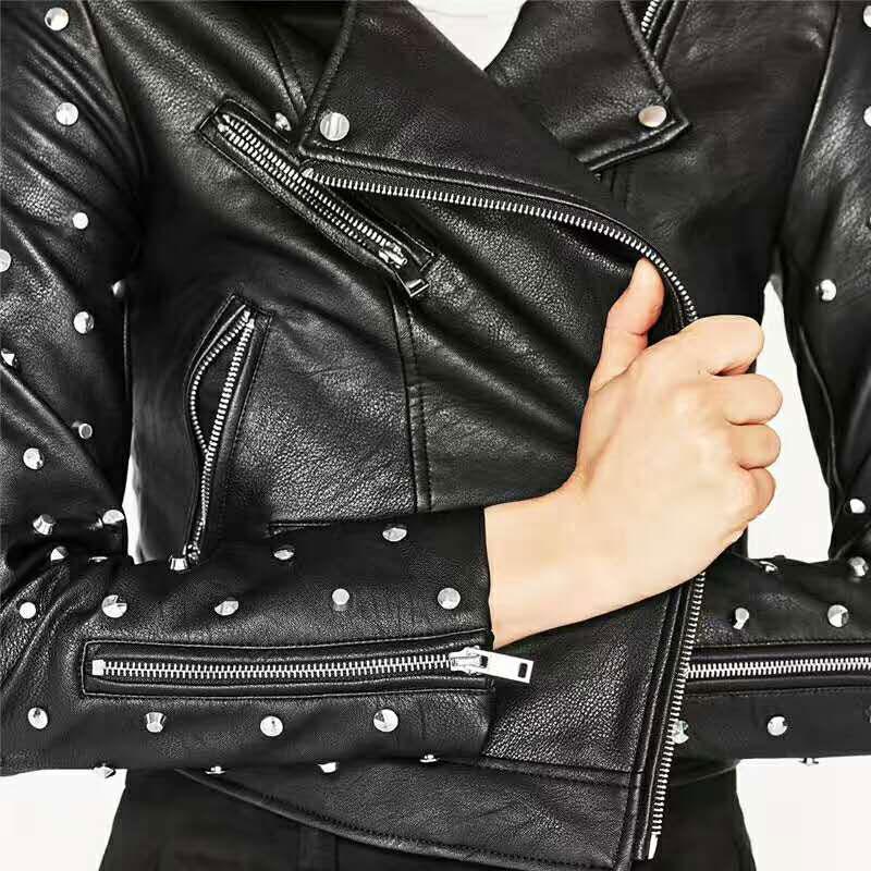 Marron Veste Cuir Acheter Femme Blouson Moto Manteau Jaquetas rxInn4wqE