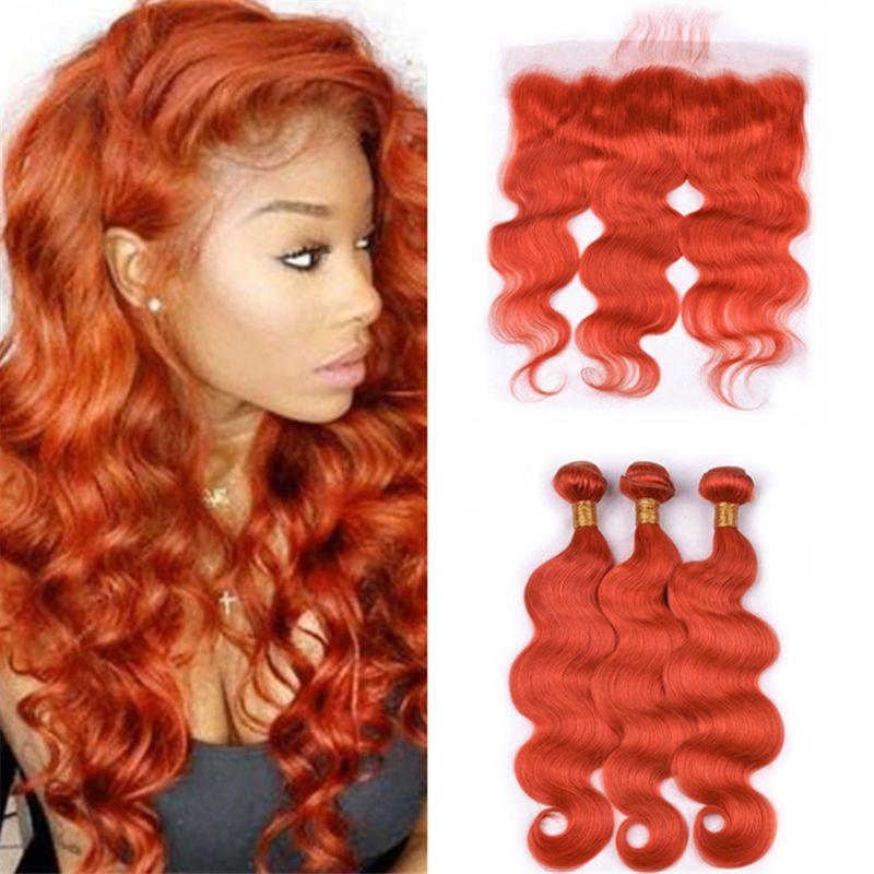 2018 burnt orange human hair bundles with frontal lace closure body