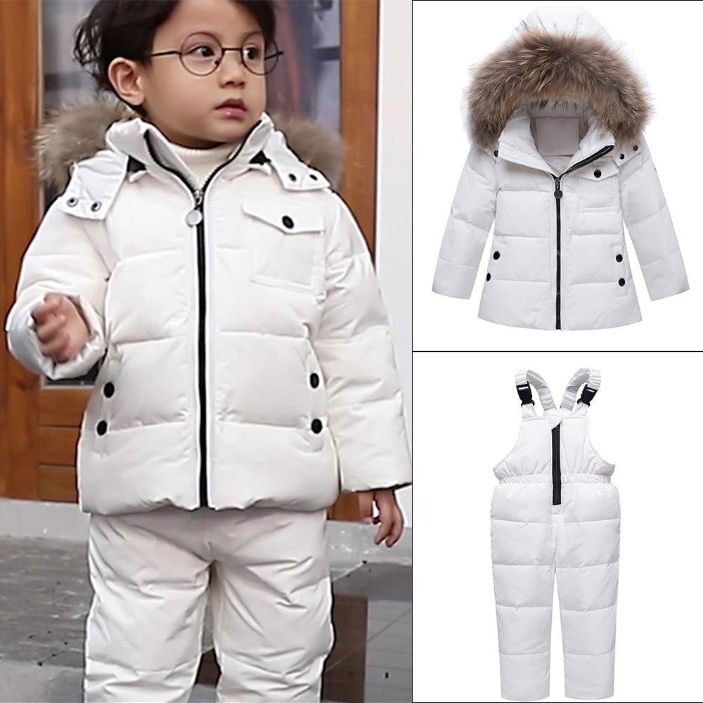 63171d8fbadd Parka Real Fur Hooded Boy Baby Overalls Girl Winter Down Jacket Warm ...