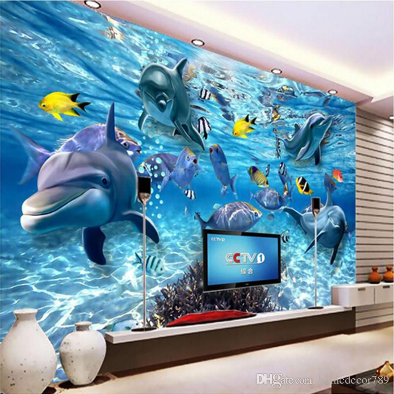 Custom photo wallpaper 3D stereo underwater world of marine fish living children's room TV background 3d mural wall paper