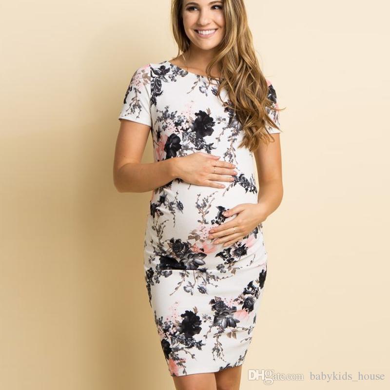067d2fa12 Compre Vestido De Mujer De Verano Estampado Floral Vestidos De Embarazo  Para Mujeres Embarazadas Ocasionales Vestidos De Maternidad Del Cuello Del  Barco ...