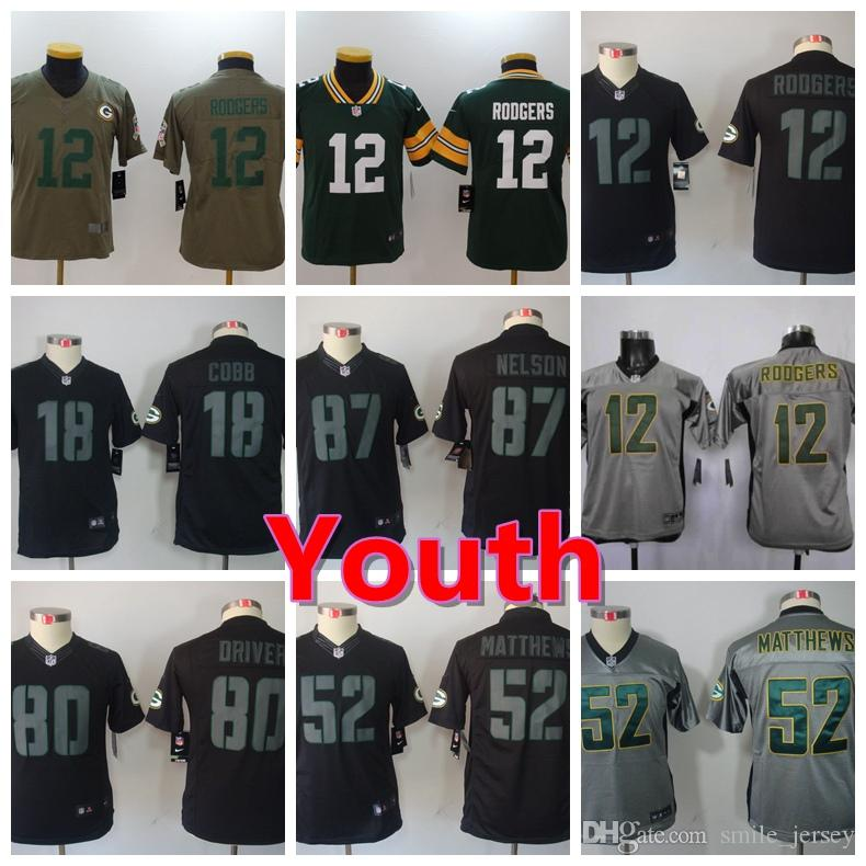2018 New Youth Green Bay Packers Boys Football Jersey 87 Jordy Nelson 52  Clay Matthews 12 Aaron Rodgers Color Rush Stitched Kids Football Shirts  From ... 7322c2b39