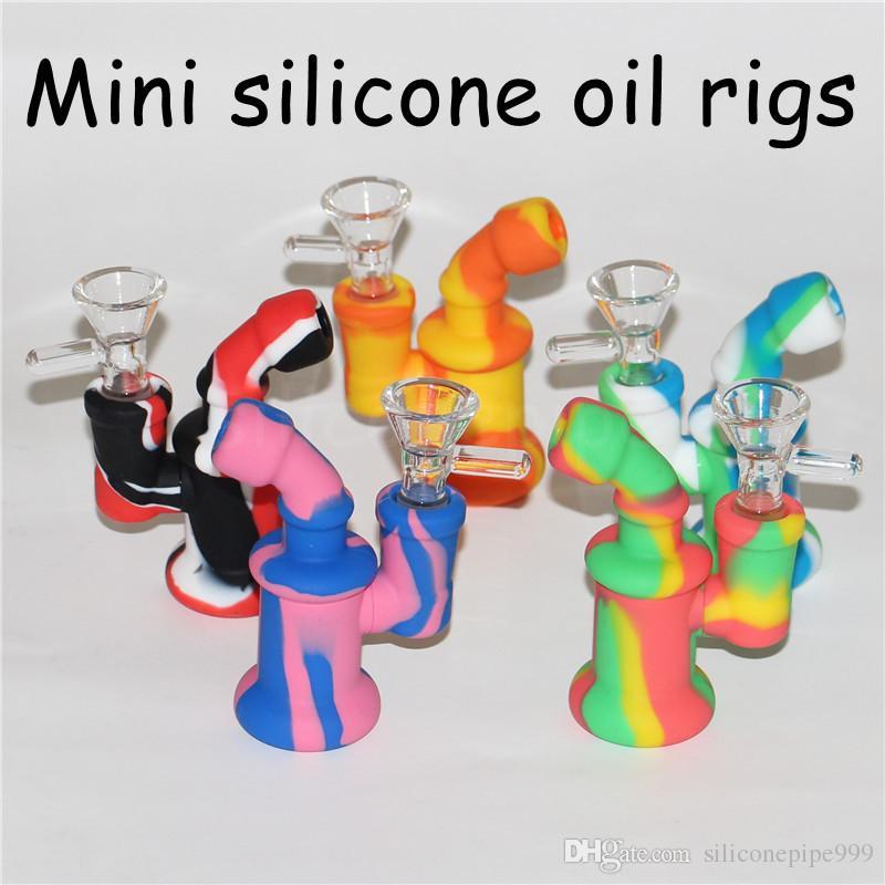 Bongo de água de silicone bongo de vidro bongo de vidro dab perc bongs dab percussão de tubos de água para óleo seco erva tubo dab ferramentas de cera