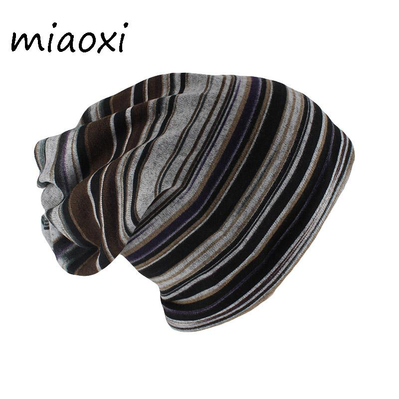 c348d216f0f Miaoxi New Arrival Fashion Autumn Women Beanies Skullies Striped Hat Scarf  Two Used Female Warm Bone Adult Hip Hop Casual Caps Cool Beanies Beanie Caps  From ...