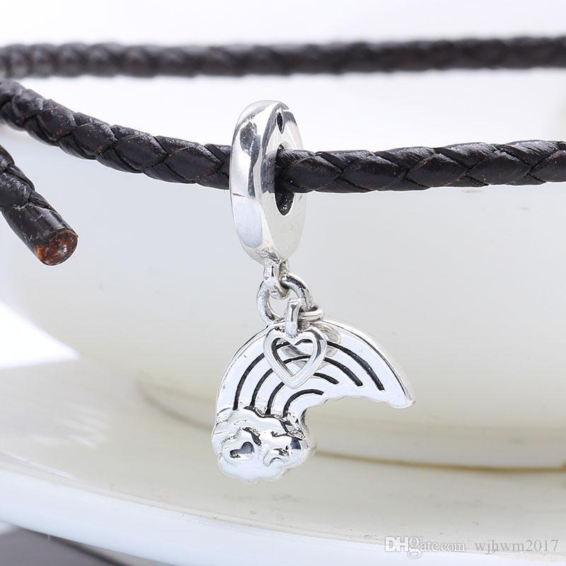 New autêntica prata esterlina 925 Bead esmalte do arco-íris do amor de suspensão Marca Charme Charme Fit Original DIY pulseiras encantos Jóias