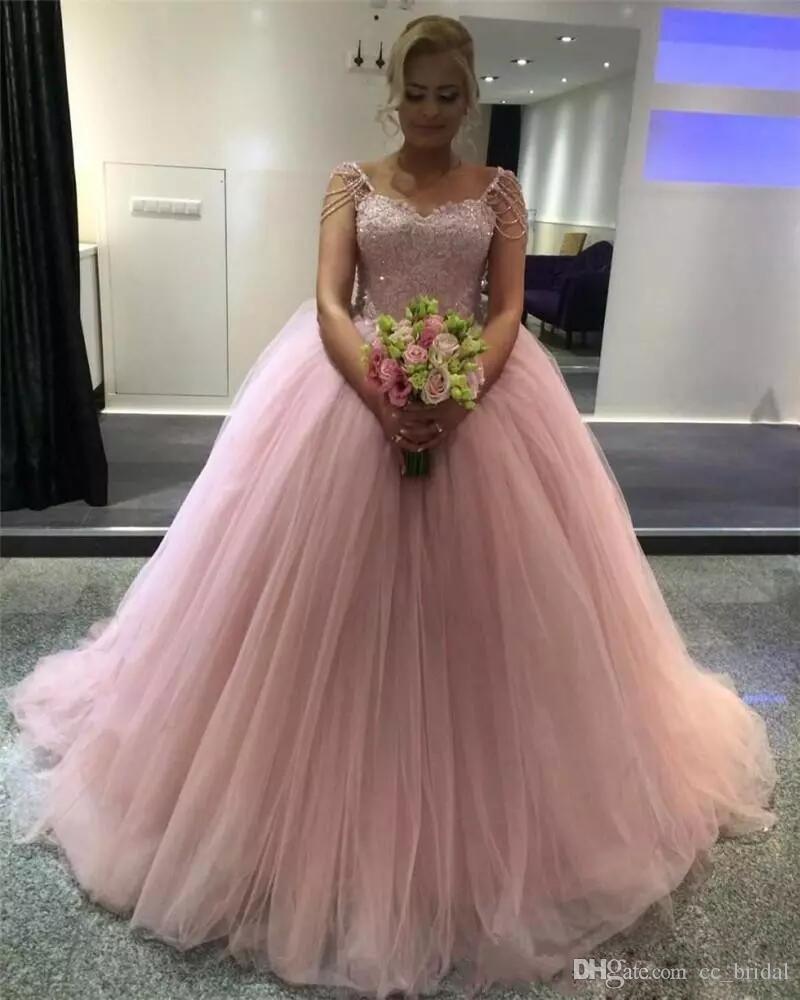 ... Vestidos De 15 Anos Light Pink 2018 Ball Gown Quinceanera Dresses  Beading Cap Sleeves Sweet 16 ... 4ce01257f46b