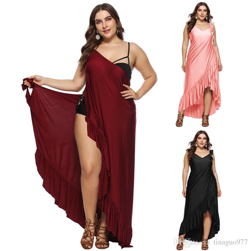 a919ccc1433 2019 Plus Size Beach Cover Up For Swimwear Sarong Style Wrap Long Dress In  Summer 3xl 4xl 5xl From Tinaguo977