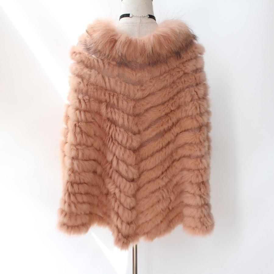 2017 New Women Fashion Knitted real Rabbit Fur Pullover with Raccoon Fur collar Poncho Cape Real Fur Wraps femme Triangle Shawl