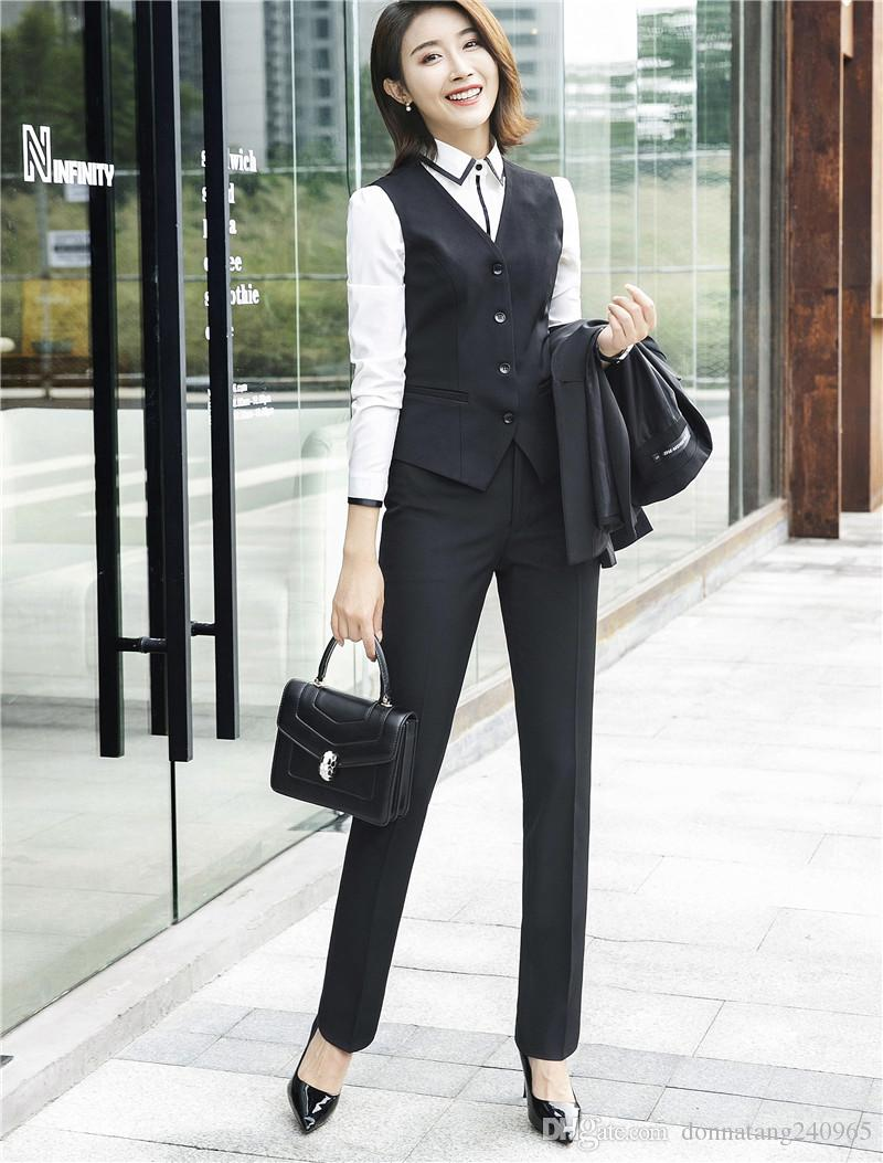 5af4d925a165 2 Stück Set Formale Hose Anzug Weste Weste Frauen Ärmellose Jacke Büro Dame  Business Wear