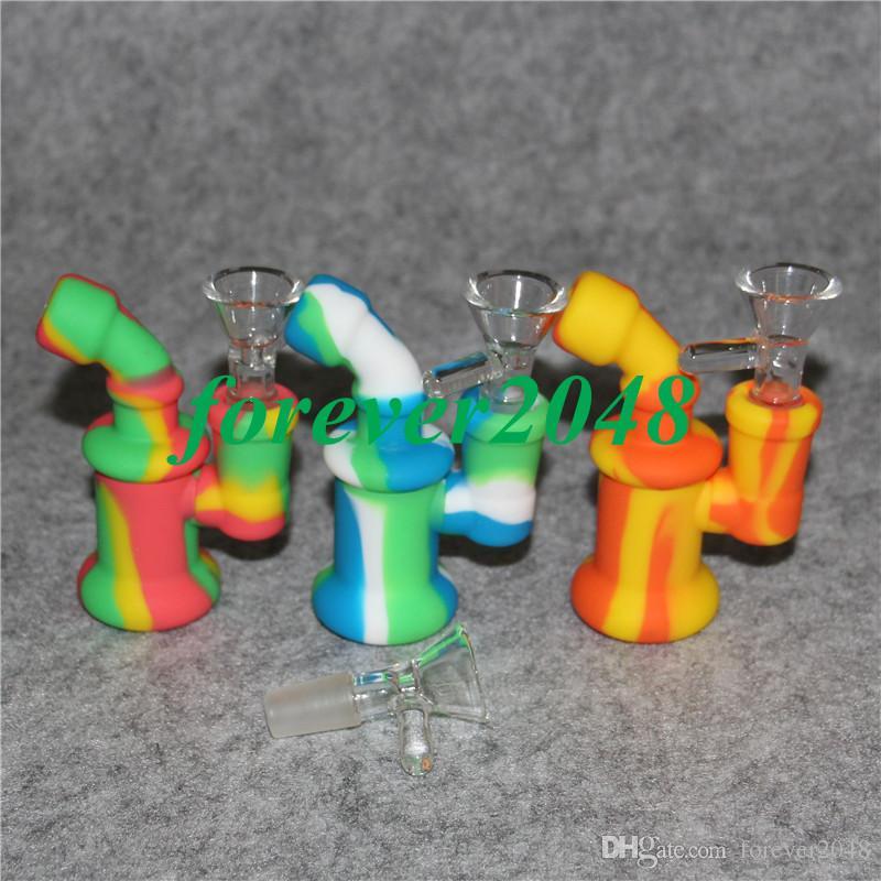 Novo 14mm Feminino Mini silicone Bong Tubos de Água de silicone Plataformas De Petróleo Bongo Reciclador de Plataforma de Petróleo Bolha para Fumar