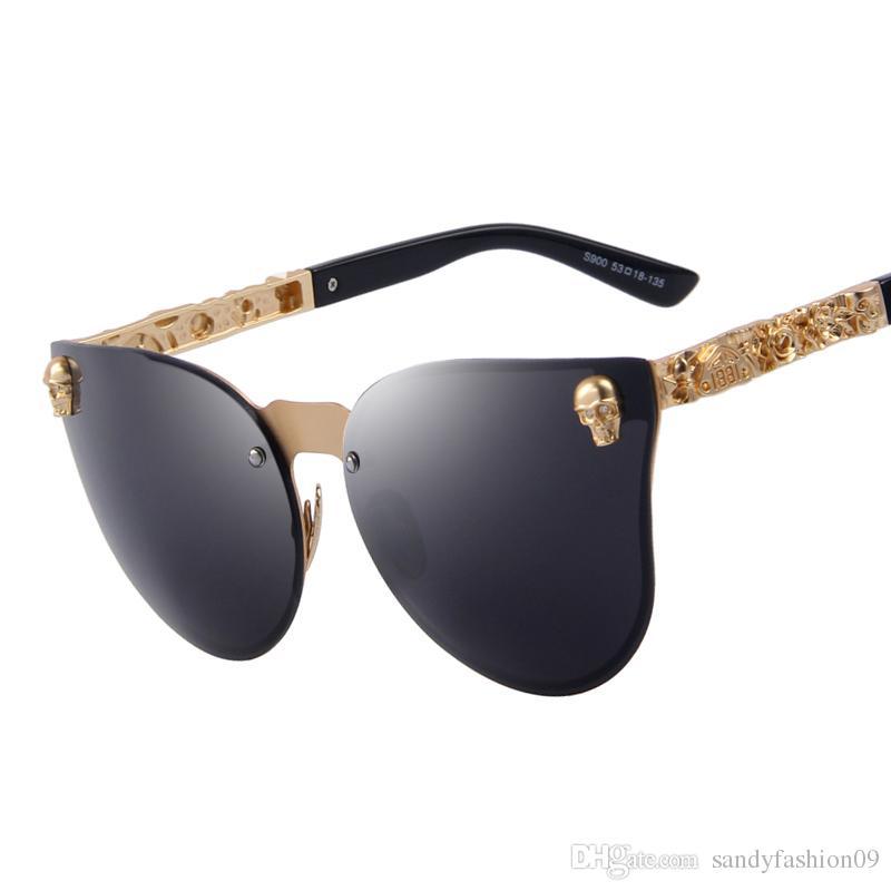 12b61c2c25 Fashion Cat Eye Sunglasses Fashion Women Gothic Eyewear Skull Frame Metal  Temple Oculos De Sol UV400 Sunglasses Shop Bolle Sunglasses From  Sandyfashion09