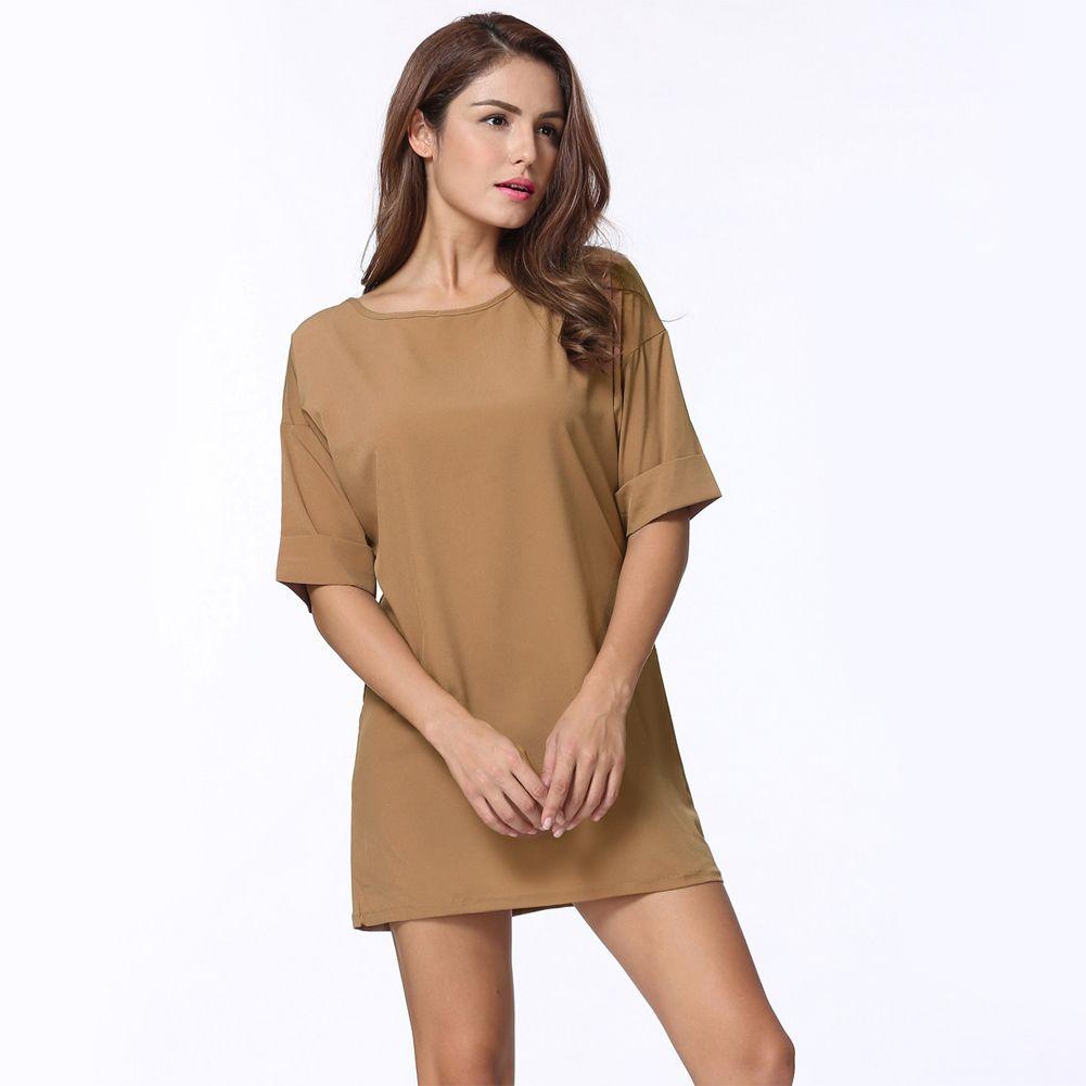 a770a15b97ff 2017 4XL Casual Loose Dress Solid Short Sleeve Ladies Mini Dress Grey Black  Khaki Short Summer Dress Plus Size Women Clothing Formal Evening Gowns  Designer ...