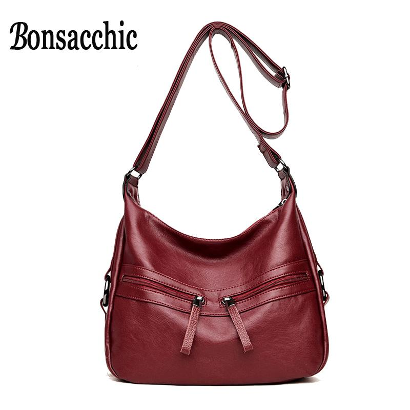78eda29b9dfd Bonsacchic PU Leather Bags Women Flap Fashion Hobos Bags Luxury Shoulder  Crossbody Female Double Zipper Hobo Handbags Small Hobo Meaning Handbag Sale  From ...