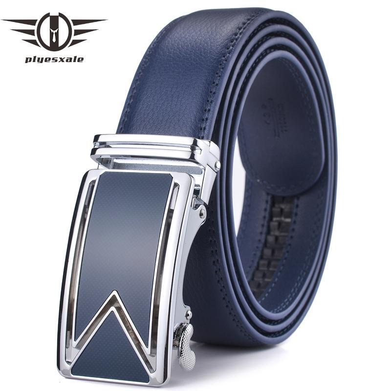 Compre Plyesxale 2018 Marca De Lujo Vestido Cinturones Hombres Cinturón  Para Hombre De Alta Calidad Para Jeans Marrón Negro Azul Automático Cinto  G38 ... 22fb231b68fa