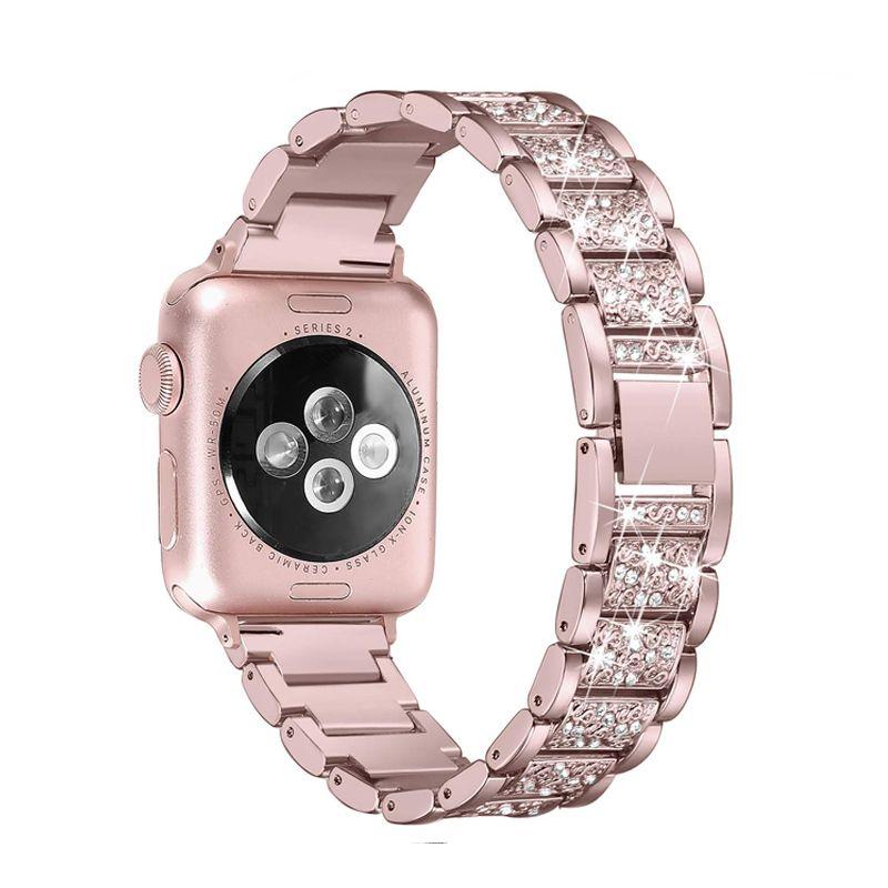 Bracelet Connécté Pour La Bande Apple Watch 40mm 44mm 38mm 42mm Femmes  Diamond Band Pour La Série Apple Watch 4 3 2 1 Bracelet IWatch Bracelet En  Acier