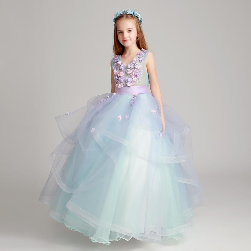 afdaa29d0d8 Blue 2018 Flower Girl Dresses For Weddings Ball Gown Tulle Lace Beaded Long  First Communion Dresses Little Girl Party Gown Shoes Girls Teenage  Bridesmaid ...