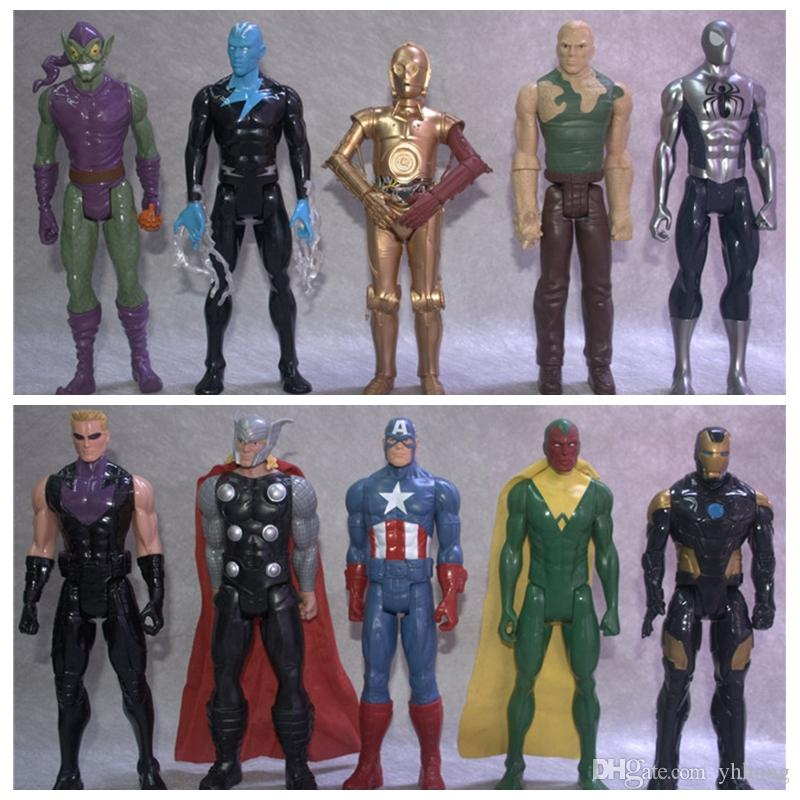 No Box 31cm Avengers Thor Captain America Iron Man SpiderMan Black Panther Action Figure Toy Doll Brinquedos Figurals Gift