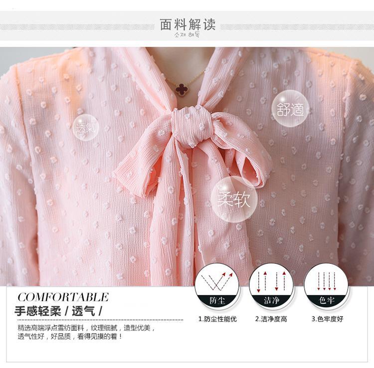 2017 automne manches longues col en V noeud papillon chemises en mousseline de soie femmes travail de bureau OL chemisiers en mousseline de soie rose femmes chemises à pois point mousseline de soie top