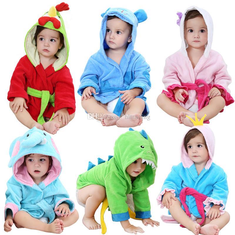5 Styles Hooded Bathrobe Kids Robes Cartoon Animal Dinosaur Elephant ... b355fda28
