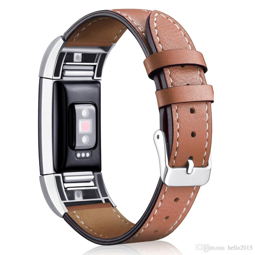 Para Fitbit Charge 2 pulseras de repuesto Pulsera de cuero genuino clásico con conectores de metal, correa de fitness para carga 2