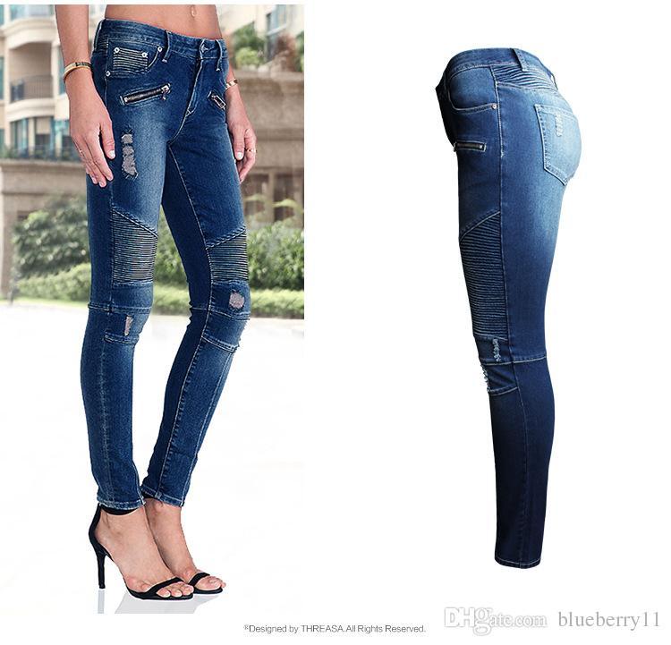 Stretch Moto Zip Acheter Mid Jeans Taille Haute Femmes Mode Biker waqHzC