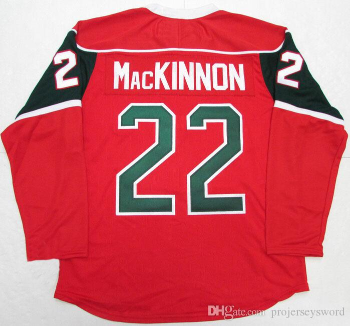 Mooseheads de Halifax # 22 NATHAN MacKINNON Hockey Jersey 100% Cousu broderie Hockey Maillots