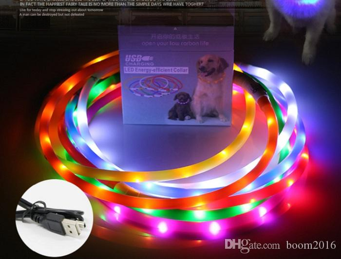 newest Cut USB Charge Dog Training Collar LED Outdoor Luminous charger Pet Dog Collars light Adjustable 6colors LED flashing dog collar
