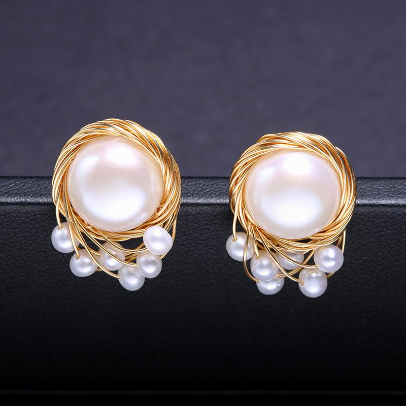 156f8bed251f5 DAIMI Vintage Pearl Earrings Handmade Jewelry 13-14mm Large Freshwater  Pearl Studs Earrings Luxury Jewelry S18101207