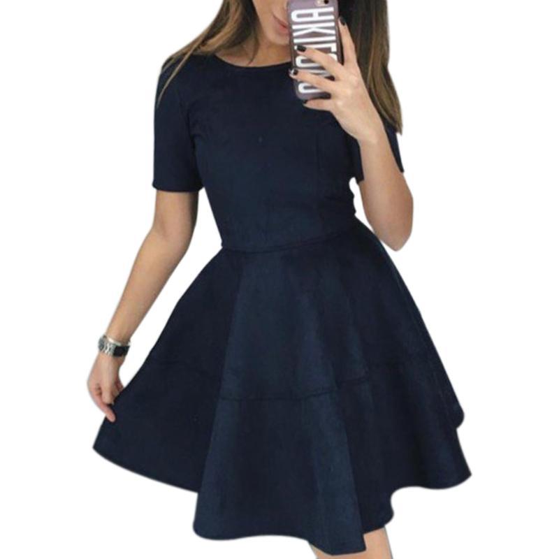 136785bcd98 Großhandel 2018 Neue Frau Dicke Nette Wildleder Kleid Weibliche Party Kleider  Herbst Kleid Kurzarm Oansatz Ballkleid Minikleid GV523 Von Bestshirt001