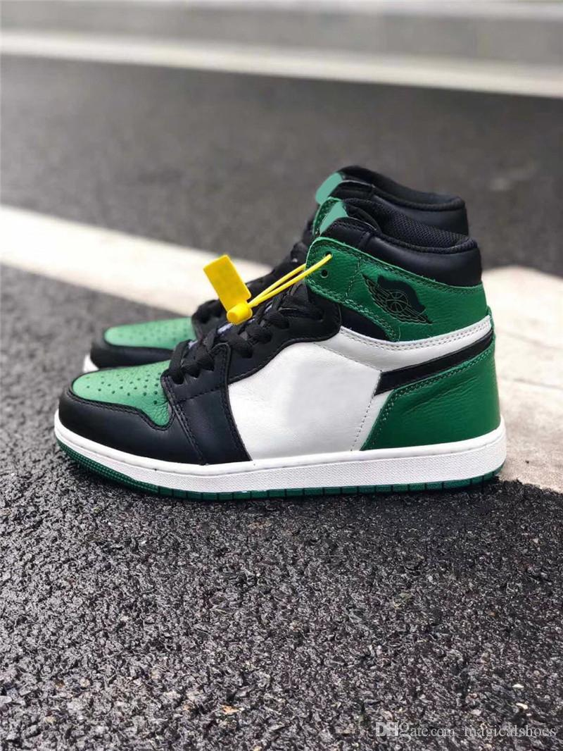 30d13d5364fe 2018 1 High OG Pine Green Court Purple Man Basketball Shoes Authentic  Sneakers Sports With Original Box 555088 302 Real Leather Size 7 13 Basketball  Shoes ...