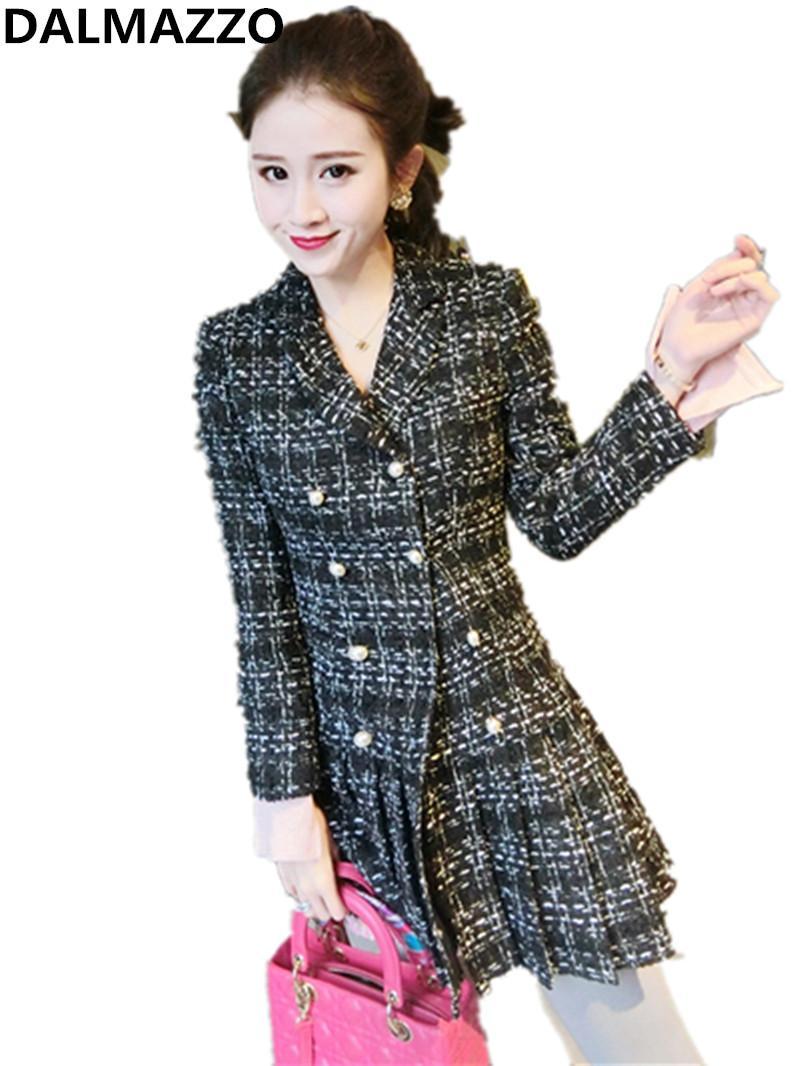 35e0fecd72 Capispalla donna in tweed di lana con cappotti scozzesi, donna, 2018,  autunno inverno, design, manica lunga, pista, doppio petto, slim outwear