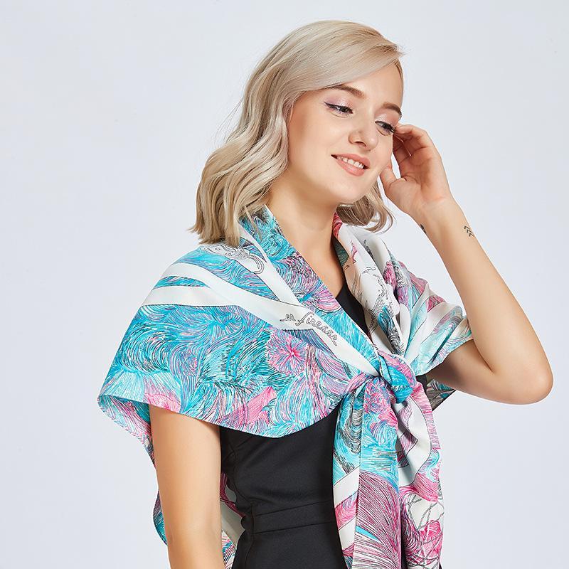 d9ec84f2ab23d8 Good gift 2018 autumn and winter new female sweet fresh saddle buckle twill  silk scarf 130cm women flowers printing travel shawl