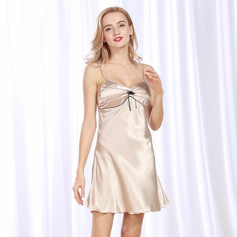 d727c73131 2019 Silk Sexy Nightdress Ms. Summer Solid Color Thin Strap Sexy Pajamas  From Xiuyi02