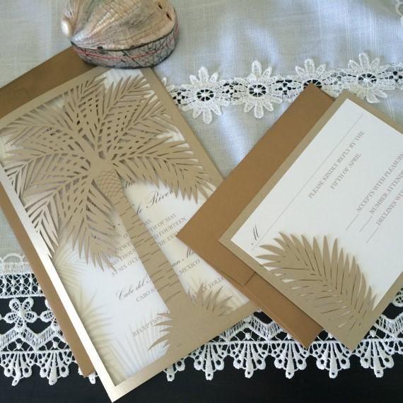 Laser Cut Tree Wedding Invitations: Palm Tree Tropical Destination Wedding Invitation, Custom