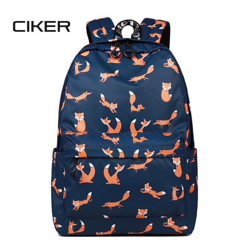 f053e89a73 CIKER High Quality Waterproof Women School Backpack Cute Fox Pattern  Printing Female Travel Daily Laptop Bagpack Kawai Knapsack Boys Backpacks  Hydration ...