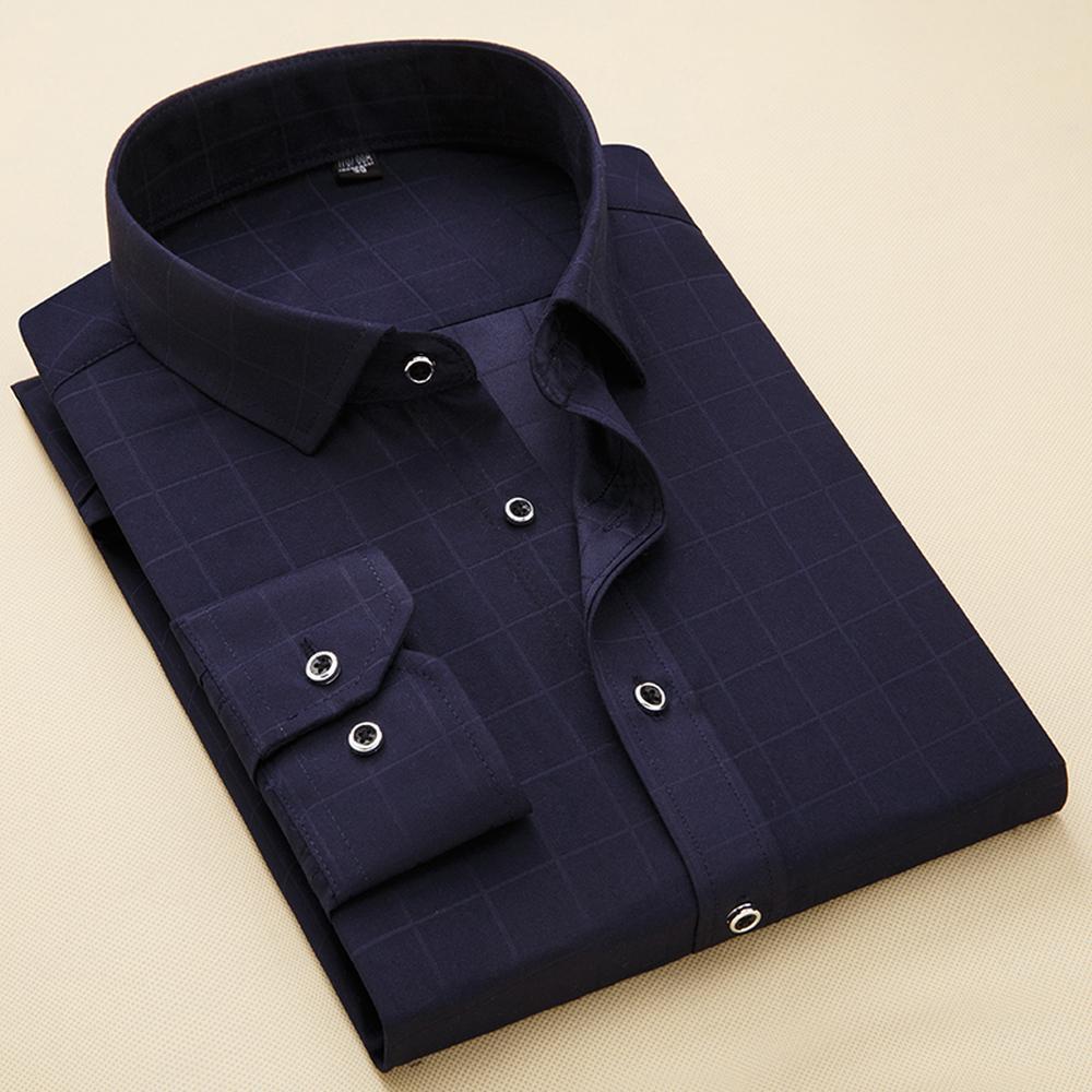 new york 63550 f8c4b Camicie primavera autunno belle uomini Stripe Business casual moda Plaid  maniche lunghe semplice abito Slim Fit Camicia uomo Full Size 4XL